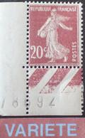 R1118/526 - 1907 - TYPE SEMEUSE CAMEE - N°139a (III) NEUF** CdF - VARIETE ➤➤➤ Impression Oscillée - Curiosities: 1900-20 Mint/hinged
