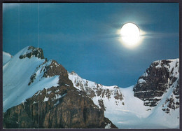 Canada Jasper National Park, The Moon Rises Over The Glacier Covered Peaksof The Columbia Ice Fields - Jasper