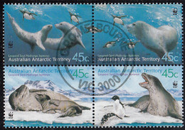 Australian Antarctic Territory 2001 Used Sc #L118 45c Leopard Seals WWF Block Of 4 - Usados