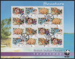BIOT 2001 Used Sc #234a Starfish WWF Minisheet Of 4 Strips Of 4 - British Indian Ocean Territory (BIOT)