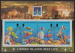 Cayman Islands 1994 Used Sc #676 Reef Life Sheet Of 4 Hong Kong 94 - Caimán (Islas)