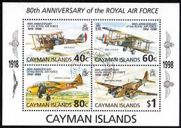 Cayman Islands 1998 Used Sc #758 Royal Air Force 80th Ann Sheet Of 4 Airplanes - Caimán (Islas)