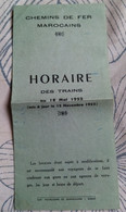 Horaires Train Chemin De Fer Marocain 1952 - Mondo