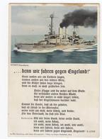 "Ansichtskarte Horn's Post Card Kriegsschiff Battle Ship Lied ""denn Wir Fahren Gegen Engeland"" Ungebraucht Ca. 1940 - Guerra 1939-45"