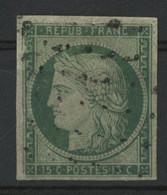 N° 2  15 Ct Vert Cote 1100 € Oblitéré (voir Description) - 1849-1850 Ceres