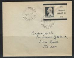 LZ-/-010- BELLE LETTRE DE DÉCÉS Du PRINCE LOUIS II - 1870-1949, TARIF Pour (E.V.) MONACO, TTB , VERSO SUR DEMANDE - Usati