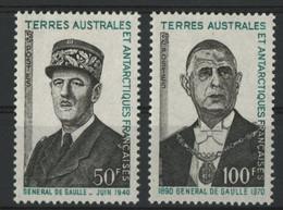 """TAAF N° 46 + 47 Cote 70 € Neufs ** (MNH) Qualité TB """"1er Anniversaire De La Mort Du Général De GAULLE"""". - Unused Stamps"""
