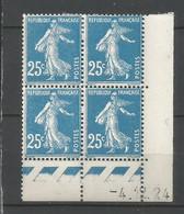 Coins Datés De France Neuf *  N 140  Année 1924  Charnière En Haut - ....-1929