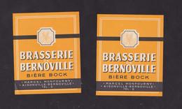 2 Ancienne étiquette Alcool France Bière Brasserie De Bernoville - Bier
