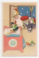 CPA Père Noel Santa Claus Baby Donkey Christmas Drawing Vintage Postcard - Santa Claus