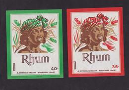 2 Ancienne étiquette Alcool France Rhum Femme - Rhum