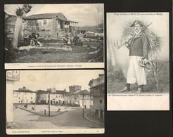 Conjunto 3 Postais Antigos De VILA REAL Chaves + Trabalhador Minho - Edição F.A.Martins + Papelaria Mesquita PORTUGAL - Vila Real