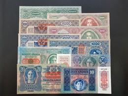 Austria / Hungary 1919-1922, 10-100000 Kronen (10 Pcs), (P-51, P-53, P-54, P-56, P-59, P-61, P-65, P-79, P-80, P-81) - Austria