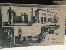 Cartolina Saluti Da San Felice Sul Panaro Prov Modena, Il Castello, Piazza Dell'orologio, Nuovo Palazzo Della Banca 1918 - Modena