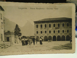 Cartolina Longarone Prov Belluno Piazza Margherita Caserma Alpini 1917 - Belluno