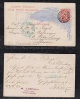 Brazil Brasil 1891 BP 27 80R Stationery Card RIO To ST PETERSBURG Russia - Postal Stationery