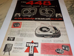 ANCIENNE PUBLICITE ELECTROPHONE 448 DE TEPPAZ 1955 - Other
