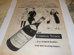 ANCIENNE PUBLICITE  VIN DE BORDEAUX  CORDIAL -MEDOC 1955 - Alcools