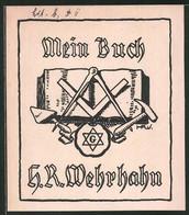 Exlibris H. R. Wehrhahn, Freimaurer Wappen - Bookplates