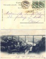 SUISSE AMBULANT TàD À PONT Du  9.X.03 + GRIFFE LINEAIRE ROMONT – CP => PARIS FRANCE - Lettres & Documents