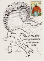 Cartolina Postcard Ferroviaria FERROVIE DI STATO D.L.F. DLF Milano Lidice Mostra FILATELICA Giugno 1982 - Stazioni Con Treni