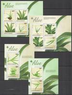 AA252 2014 ANTIGUA & BARBUDA FLORA NATURE PLANTS MEDICINAL PLANTS FLOWERS ALOE !!! 2BL+2KB MNH - Heilpflanzen