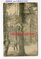 HIBOU Ou CHOUETTE Cloue A L'arbre-KAUZ-EULE-SUPERSTITION-CARTE PHOTO Allemande NON SITUEE-Guerre 14-18-1 WK-Militaria- - Guerra 1914-18