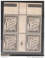 France Maury Taxe 10 (Yvert TA) ** Duval 1c Millésime De 1898 Tbc En Bloc De 4 - Millesimes
