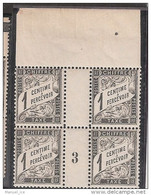 France Maury Taxe 10 (Yvert TA) ** Duval 1c Millésime De 1903 En Bloc De 4 - Millesimes