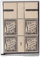 France Maury Taxe 10 (Yvert TA) ** Duval 1c Millésime De 1907en Bloc De 4 Tbc - Millesimes
