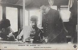 Croquis De Guerre 1915 Dejeuner Dans Les Autobus Carte En Bon état - Autres Communes