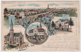 88694 Ak Lithographie Gruß Aus Lucka S.-A. Kirche, Rathaus, Bahnhof 1900 - Zonder Classificatie
