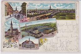 84197 Ak Lithographie Gruß Aus Lucka S.-A. Schuhfabrik Usw. 1906 - Zonder Classificatie