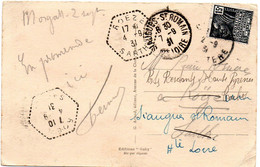 SARTHE - Dépt N° 72 = ROEZE 1931 = CACHET MANUEL HEXAGONAL Pointillé F4 = Agence Postale + SIAUGUES ST ROMAIN / 43 - Bolli Manuali