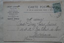 U4 ALGERIE BELLE CARTE ASSEZ RARE 1930 PERFORATED VOYAGEE A BORDEAUX FRANCE + AFFRANC. INTERESSANT - Cartas