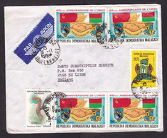 Madagascar: Airmail Cover To Netherlands, 1990, 6 Stamps, USSR, Flag, Jumelage, Snake, Rare Air Label (minor Damage) - Madagascar (1960-...)