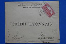 U4 ALGERIE BELLE LETTRE ASSEZ RARE 1937 PERFORATED CRED. LYONNAIS  CONSTANTINE A  LIBOURNEFRANCE + AFFRANC. INTERESSANT - Brieven En Documenten