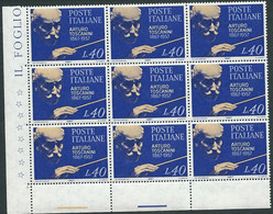Italia 1967; Centenario Nascita Di Arturo Toscanini, Serie Completa. Blocco D' Angolo Di 9 Valori. - Blocks & Sheetlets