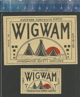 WIGWAM  - OLD Matchbox Labels BELGIUM - Scatole Di Fiammiferi - Etichette