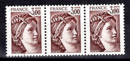 France Sabine YT N° 1979b Variété Sans Phosphore En Bande De Trois Timbres Neufs ** MNH. Signés Calves. TB. A Saisir! - Varieties: 1980-89 Mint/hinged
