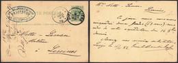 """EP Au Type 5ctm Vert Obl Simple Cercle """"Liège""""  > Lessines + Cachet Privé """"Baudrihaye & Frères, Brasseurs"""" (St-Léonard) - Postkaarten [1871-09]"""