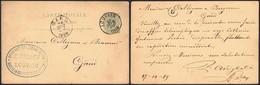 "EP Au Type 5ctm Vert Obl Simple Cercle ""Louvain"" (1883) > Gand + Cachet Privé ""Ancienne Brasserie Beckx / Louvain"" - Postkaarten [1871-09]"