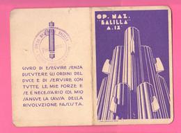ONB Opera Balilla Tessera Balilla  Emessa  1931 Sezione Piacenza O.N.B Anno IX° - Organizations