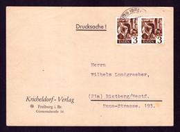 All. Bes. FZ Baden Postkarte FREIBURG (BREISGAU) - Rietberg - Baden Mi. 2 Typ I Und III - French Zone