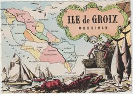 Morbihan : ILE  De  GROIX : Carte  Géographique , Moustero , Port Lay, Groix, Locmaria ,créhat,kerlard..... - Andere Gemeenten