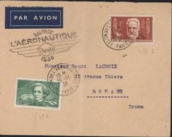 YT 331 + 332 Berlioz Et V Hugo CAD Salon De L'aéronautique Paris 26 11 36 Cachet Salon Aéronautique Paris - Luchtpost