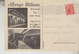 TRIESTE  ALBERGO MILANO VEDUTE SALUTI  VG  1955 - Trieste