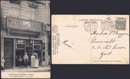 Carte Postale - Café Distillerie Omer (Bruxelles, Rue St-Michel), Brasserie Koekelberg / Voyagée, TB - Cafés, Hotels, Restaurants