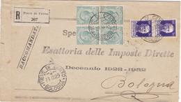 1929 Raccomandata Da Pieve Di Cento Con Affrancatura Mista Per Bologna Con Arrivo Al Retro - Marcofilía