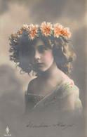 BEAUTIFUL YOUNG BRUNETTE GIRL-FLOWER HEAD PIECE~1911 GERMAN TINT PHOTO POSTCARD 53077 - Portraits
